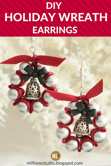 DIY Holiday Wreath Earrings pinterest pin