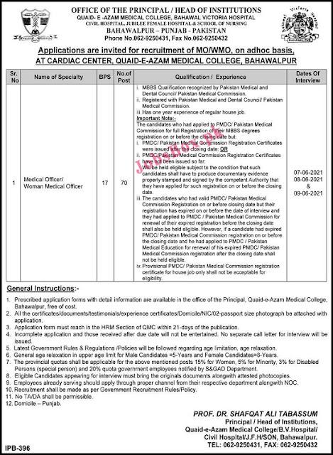 quaid-e-azam-medical-college-bahawalpur-medical-officer-jobs-2021