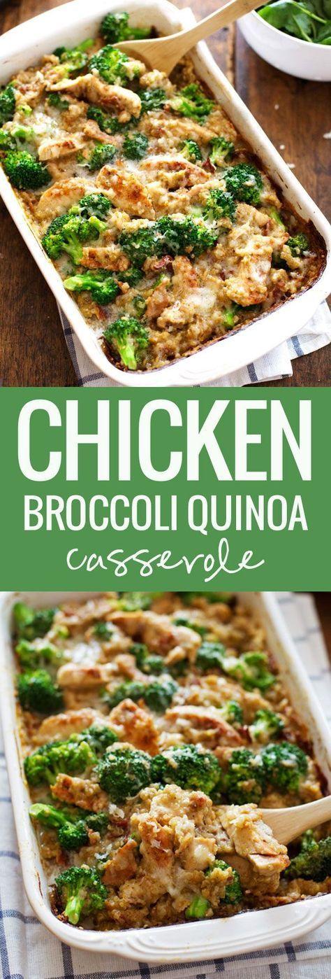 Healthy Creamy Chicken Quinoa and Broccoli Casserole