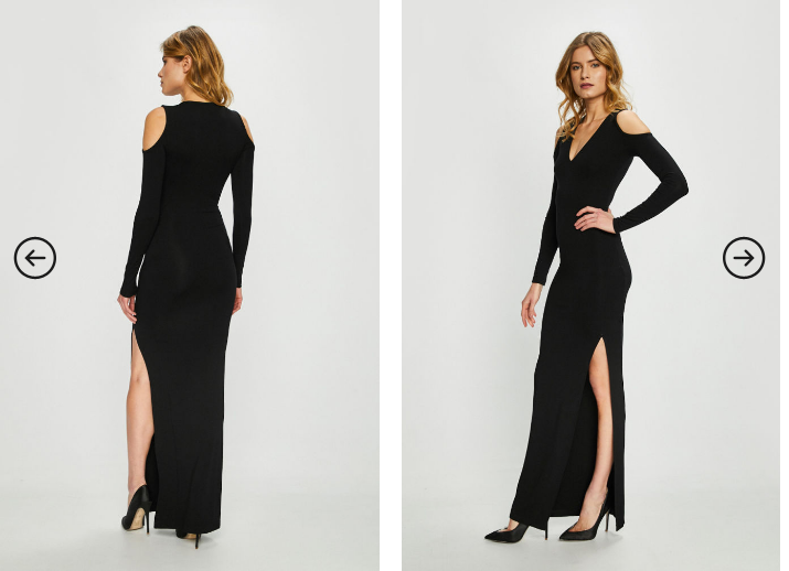 Answear - Rochie lunga neagra de seara eleganta cu crapatura