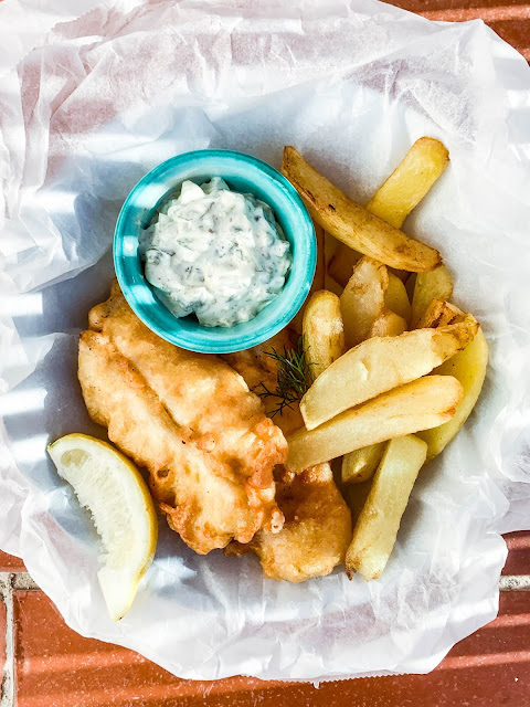 Fish and Chips with tartar sauce on side