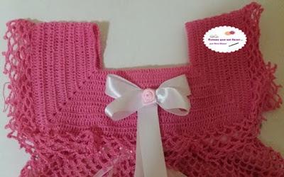 vestido de crochê infantil rosa