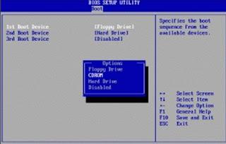 langkah-langkah seting bios komputer agar boting ke cdrom