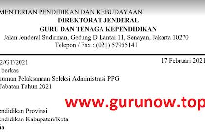 Pengumuman Seleksi Administrasi PPG Dalam Jabatan Tahun 2021