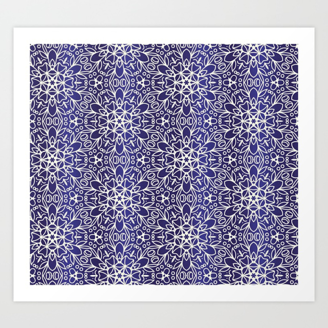 Midnight Flowers Pattern Art Print