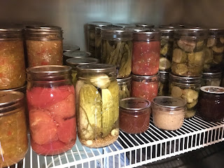 Shelf of Home Canned Food in Jars including pickle relishes, pickles, pickled beans, salsa, applesauce, and jams. https://trimazing.com/