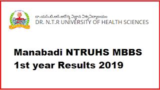 Manabadi NTRUHS MBBS 1st year Results 2019