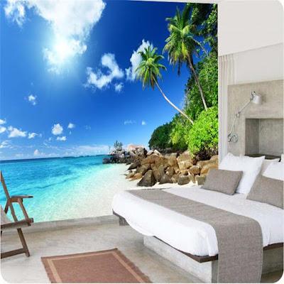 tapet sovrum tropisk paradis strand hav palmer fototapet 3d