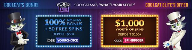 Cool Cat Casino Bonuses | Get 100% Bonus and 50 Free Spins or 40 Free Spins worth $1000