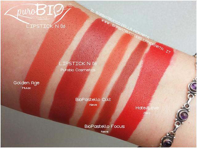 comparazioni , lipstick n 06 ,  rossetti purobio , lipstick, vegan makeup, bio makeup