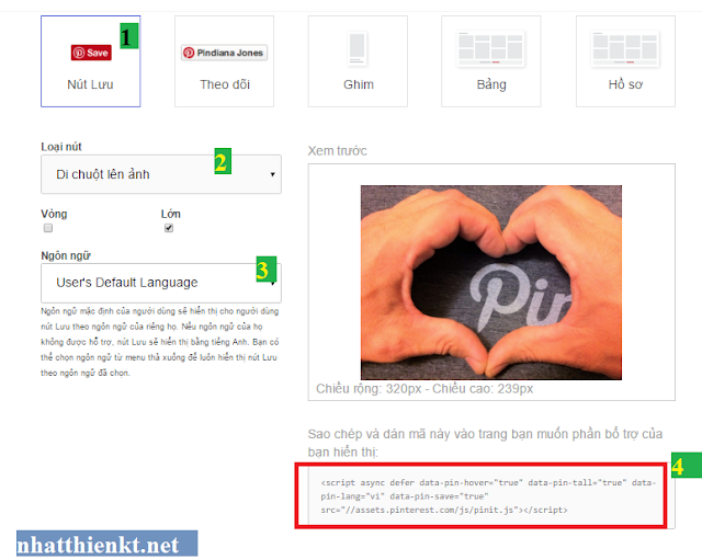 Hướng dẫn chèn nút pinterest khi rê chuột lên hình ảnh blogspot