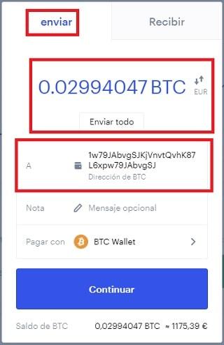 Enviar Bitcoin para Comprar BNB COIN