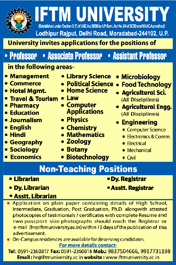 IFTM Life/Agricultural Sciences Faculty Jobs 2021