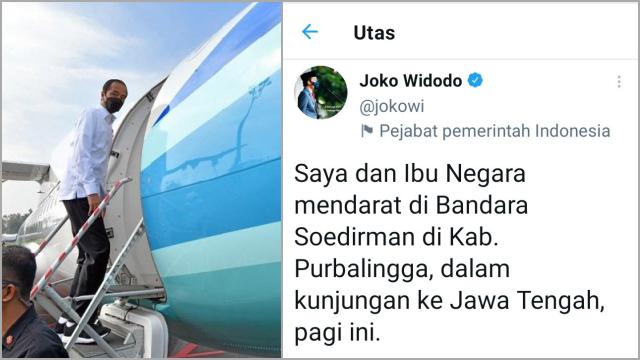 Jokowi Bilang Mendarat tapi Fotonya Naik Pesawat, Netizen Sindir 'Meroket' Artinya Tekor