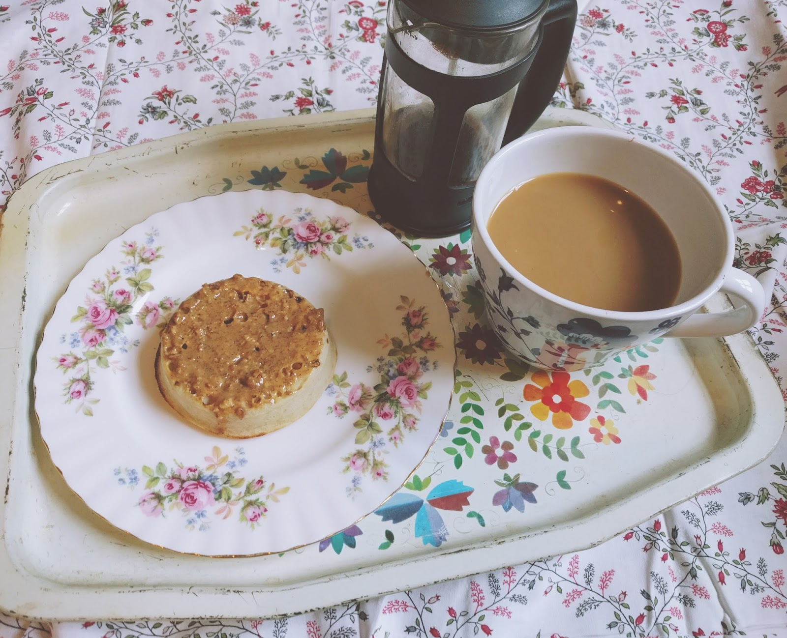 Almond butter crumpets and coffee
