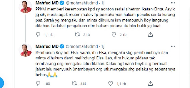 Mahfud MD Dikecam Netizen Karena Nonton Sinetron Saat Rakyat Susah Terdampak PPKM Darurat