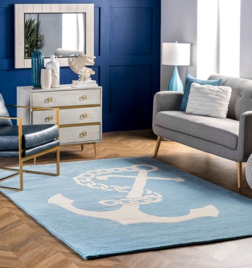Light Blue Pastel Single Anchor Area Rug