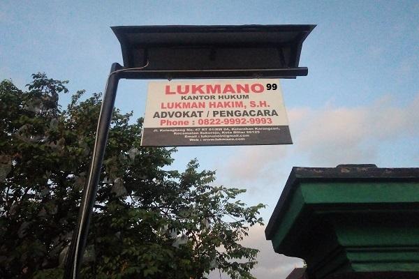 LUKMANO 99 - Papan Nama Kantor Advokat / Pengacara Lukman Hakim Jasa Layanan Hukum Lawyer Profesional Indonesia