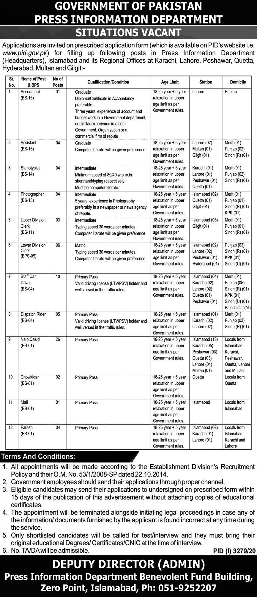 Press Information Department Jobs 2020 December PID Application Form Naib Qasid, Drivers, Clerks & Others Latest