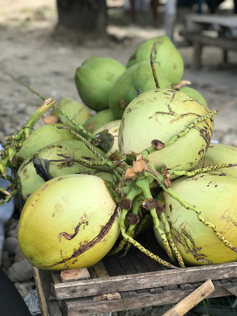 Fresh coconut sold on Mutun Beach, Lampung