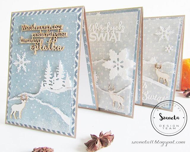 Kartki świąteczne - widoczki z jelonkami