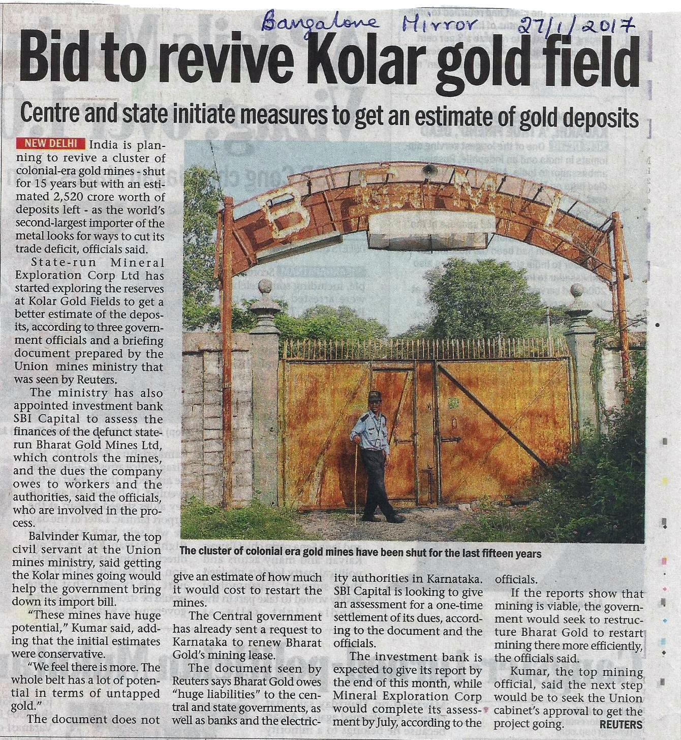 Kolar Gold Fields - NOSTALGIA: KGF MINES REOPENING - NEWS