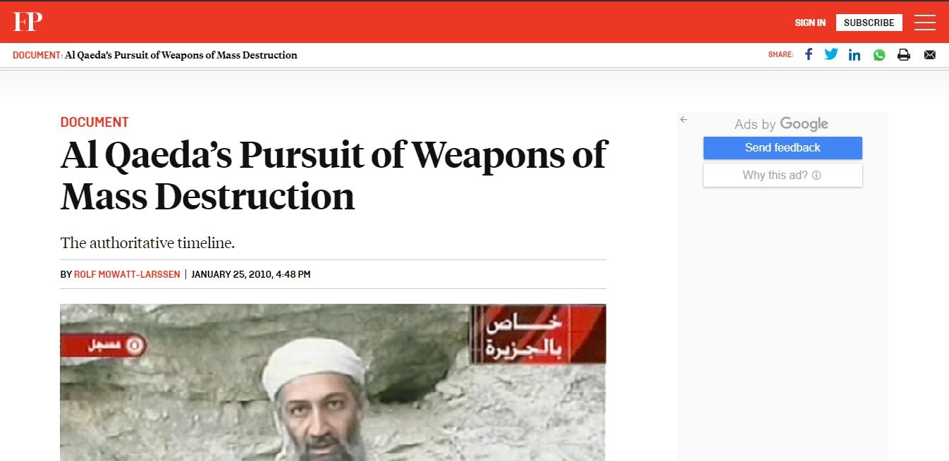 Image 11: Newspaper Screenshot showing Al Qaeda's Pursuit of Weapons of Mass Destruction:   Biological Warfare as a means of terrorism.