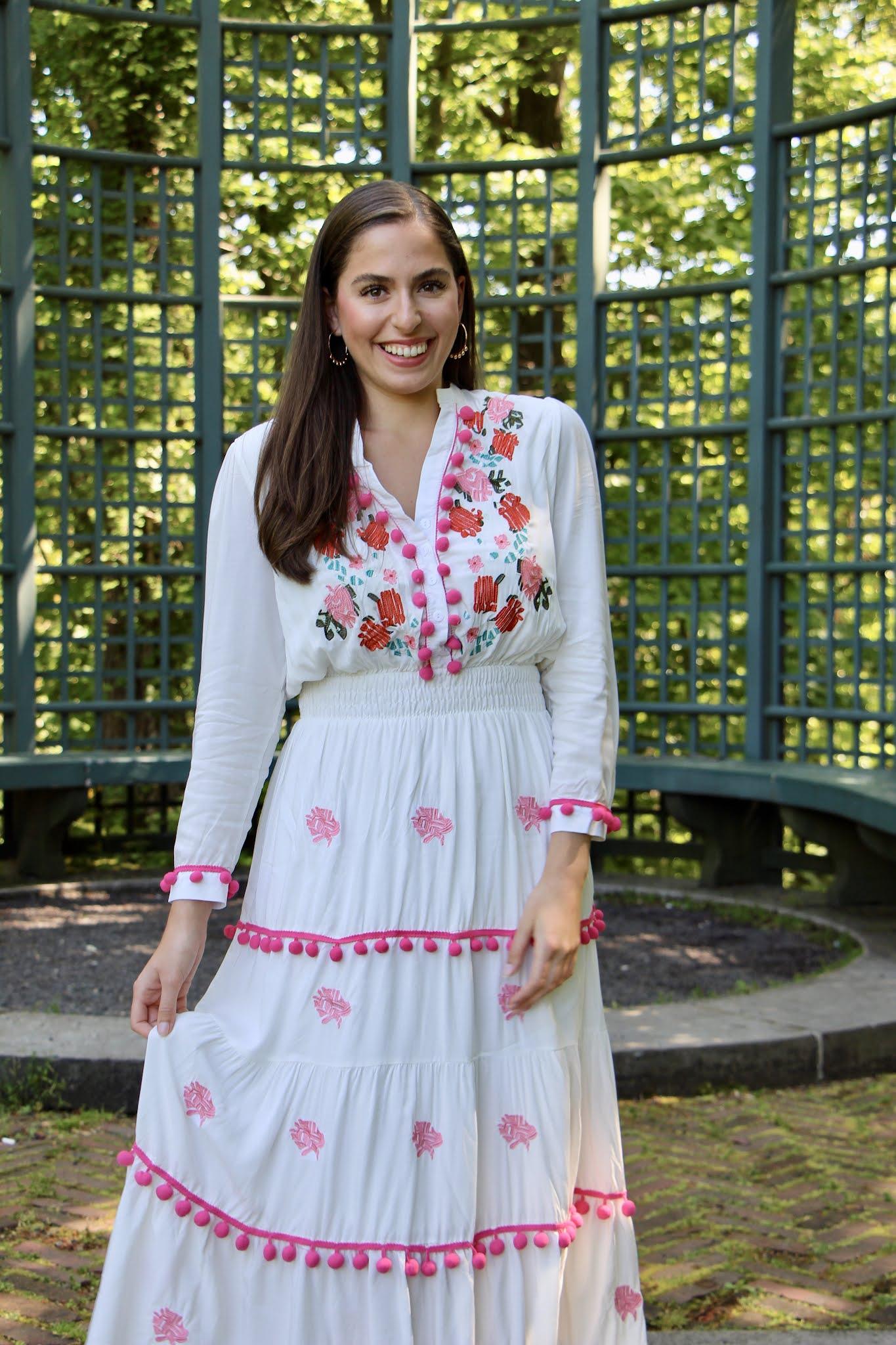 maxi dress, pom poms, embroidery, long island, summer