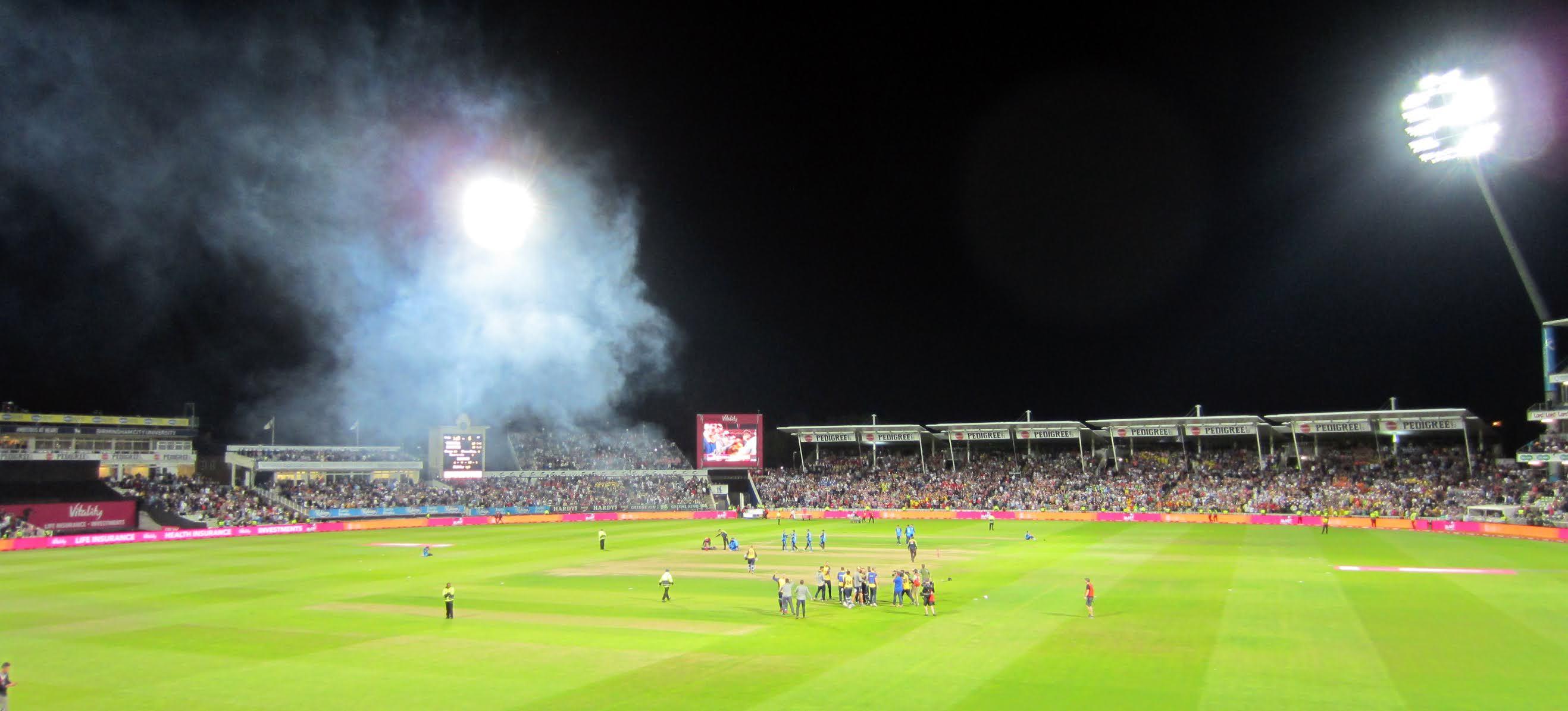 Edgbaston Stadium at night
