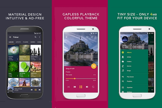 pulsar android music player app material design ad free