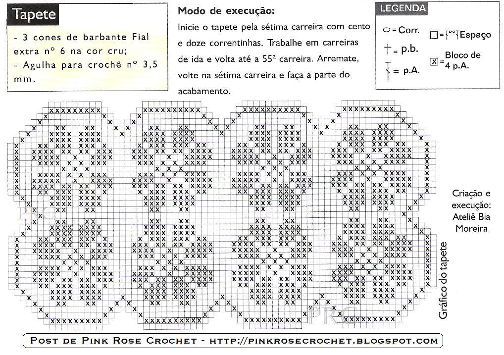 Pink Rose Crochet Tapete Margaridas Em Croch 234 Fil 234