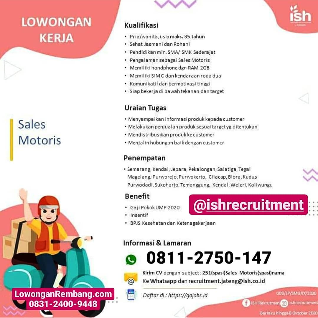 Lowongan Kerja Sales Motoris PT Infomedia Solusi Humanika Nusantara Dapat Gaji UMP 2020 Insentif BPJS Kesehatan Ketenagakerjaan