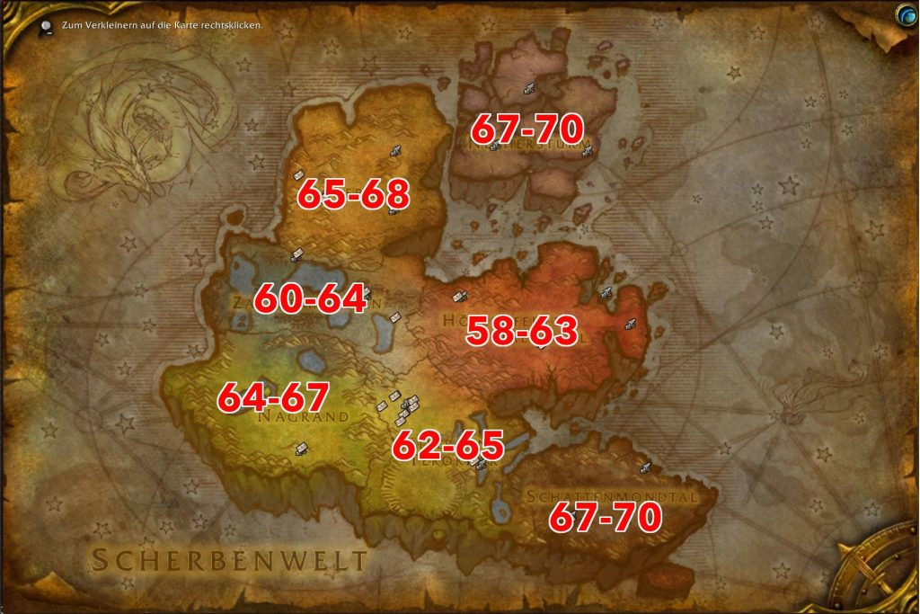 WoW BC Classic level areas - where to go with which level?