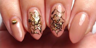 Gold Spider Web Nails