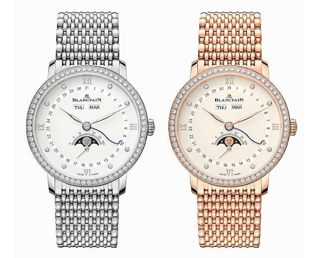 Blancpain Villeret Quantième Complet 6264 with diamonds and mille mailles bracelet