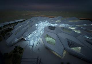 gedung KAPSARC dari udara di waktu malam