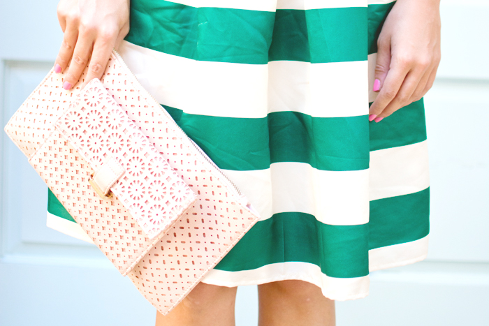 green and pink outfit midi skirt