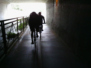 Cyclists crossing under Highway 101 alongside Stevens Creek (Narrative Clip)