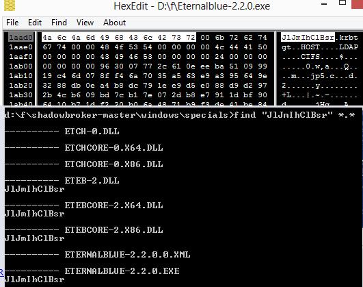 La cadena se encuentra en los binarios de EternalBlue y EternalCore que hizo públicos ShadowBrokers