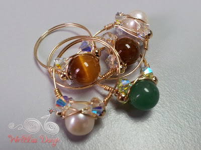 Sparkly crystal rings with tiger eyes, pearl, agate and Swarovski Crystal