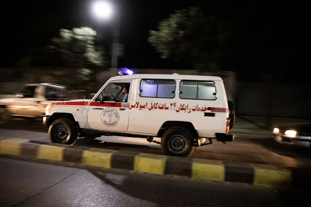 Ambulances were continuously dispatched to the scene of the bombing. Photo: New York Times