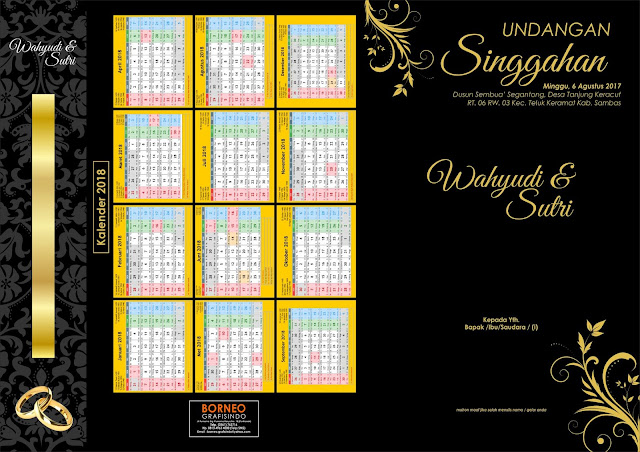 Template Undangan Black Flower Vintage Corel Draw Depan