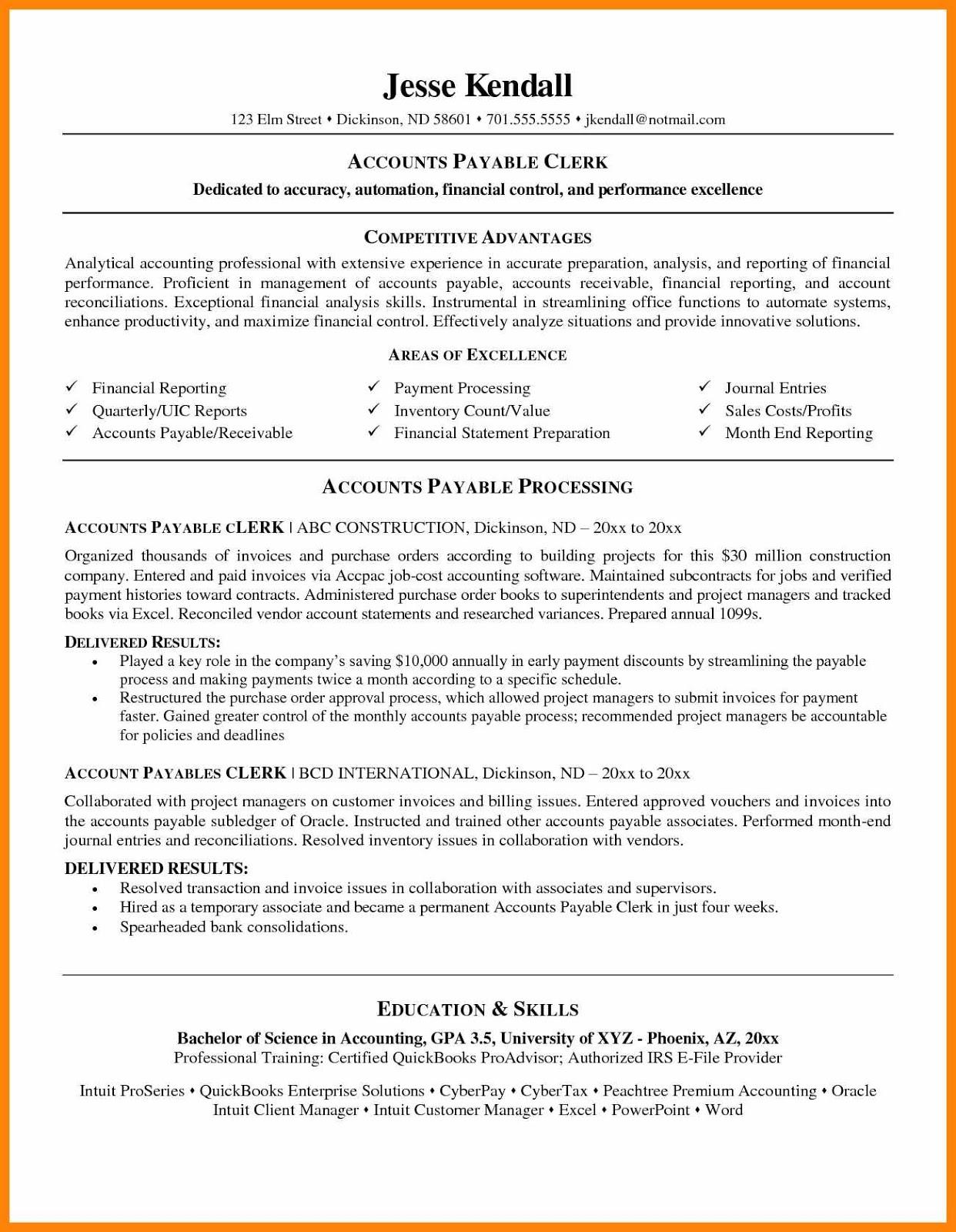 Account Clerk Resume Sample 2019 Examples 2020