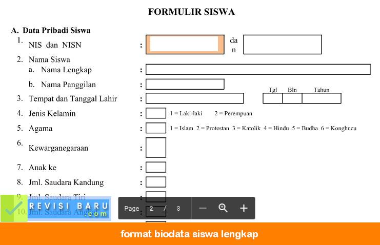 Format Biodata Siswa Lengkap