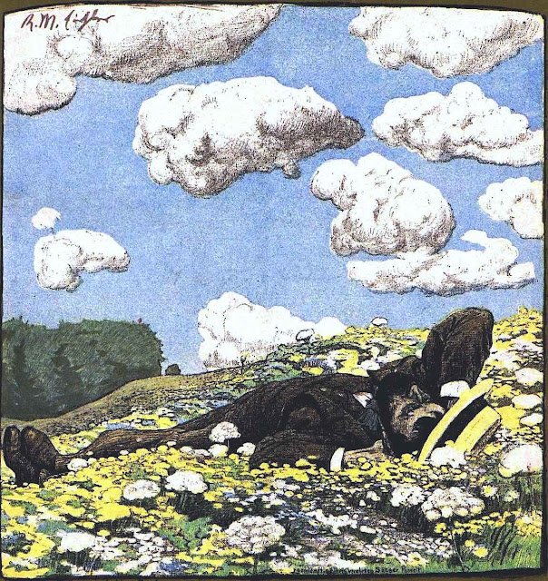a Reinhold Max Eichler illustration of a man laying in a wild field looking at clouds, for Jugend