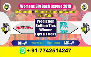 Who will win Today WBBL 2019, 48th Match Renegades vs Brisbane - Cricfrog