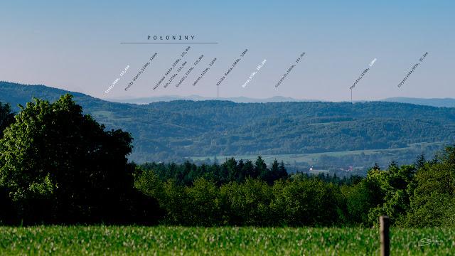 Bieszczady z Gębiczyny odległość to około 120 km