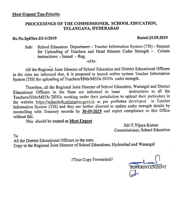Teacher Information System (TIS) Teachers Cadre Strength Upload Details at Rc No Spl ,Dt 25.09.2019
