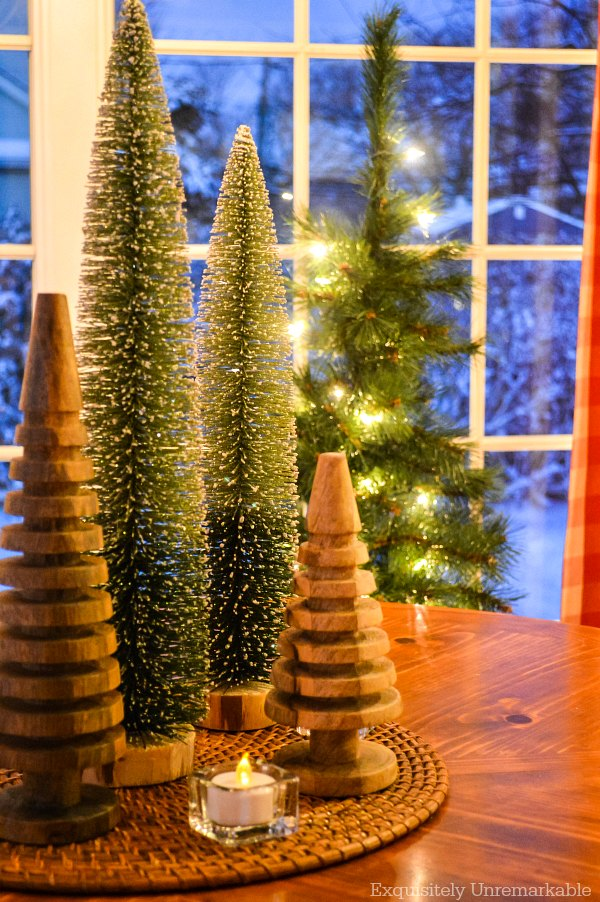Bottle Brush And Wooden Tree Centerpiece