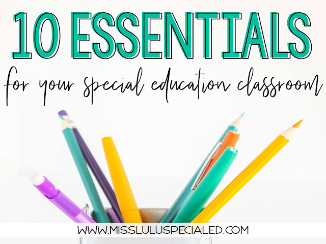 10 essentials for your special education classroom with a container of pencils and markers